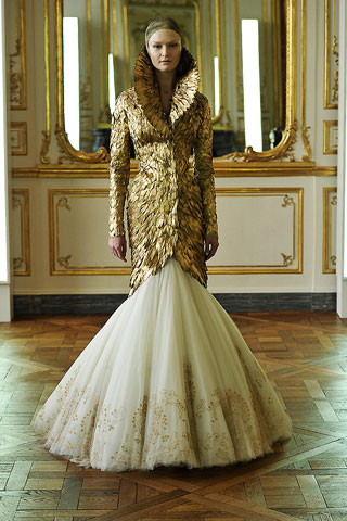 Gold Goose Feather Coat