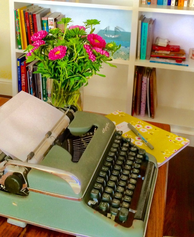 Typewriter and Books